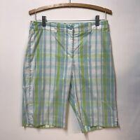 Anne Klein Sport Shorts Bermuda Walking Golf Stretch Sz 6 Green Blue White Plaid