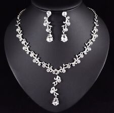 Floral Clear Austrian Rhinestone Necklace Earring Set Bridal Prom Pageant N57
