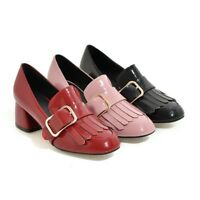 Womens Mid Block Heels Loafers Tassels Buckle Patent Leather Spring Shoes 2019