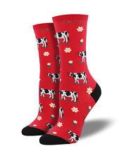 Socksmith Womens Legendairy Red Crew Socks Cow Cattle Novelty Footwear