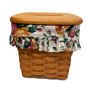 1997 Longaberger Tissue Kleenex Box Holder Basket, Lid & Cloth  Liner - Vintage