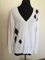 Women's Lady Hagen Golf Cardigan White Cotton Golf Sweater Argyle Size L