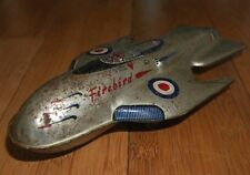 Vintage Mettoy Firebird Fighter Jet Nave Espacial Hojalata Juguete Rara década de 1950 Dan Dare
