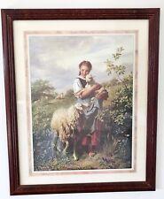 Shepherdess Print by Johann Baptist Hofner of an 1866 Painting