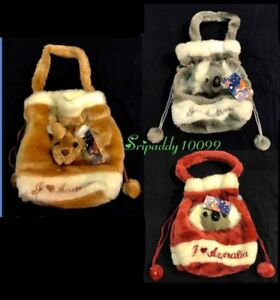 3X Australian Souvenir 3D Kangaroo Koala Head Childs Small Dilly Plush Bag