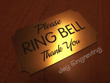 Please RING BELL Engraved 3x5 Gold Door Sign Plaque Business Home Office Signs