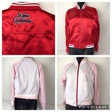 St Louis Cardinals Woman's Baseball Jacket Interchangeable Red Satin Sz S/M (s3)