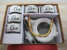 Teapot, Owl design, Set of teapot and five cups