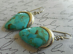 Sterling Silver 925 Turquoise Dangle Earrings  2121RL