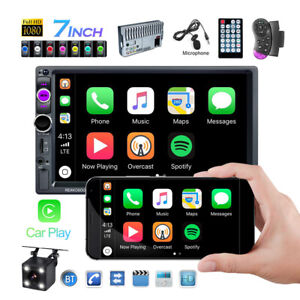 """Double 2Din Car Stereo Radio Apple/Android Car Play BT 7"""" Touch Screen + Camera"""