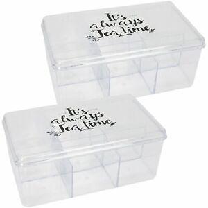 2x Aufbewahrungsbox für Tee und Teebeutel - Teebox aus transparentem Kunststoff