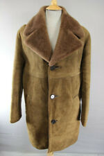 VINTAGE 1970's BRITISH MADE MORLANDS BROWN SUEDE LEATHER LAMBSKIN COAT 40 INCH