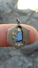 RR Rare beautiful French British Austrian Chinese silver pendant with a woman
