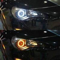 2X Angel Eyes 60-120MM COB Car Headlight Halo Ring White DRL Amber Turn Light