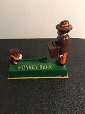 Antique Cast Iron Bank Hubley? Mechanical Trick Monkey Bank Coin Box Man Vintage