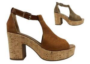 Sandali donna Nero Giardini E115820D scarpe tacco alto plateau casual alla moda
