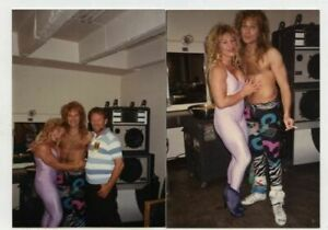 2 Candid Snapshot Photo David Lee Roth Kay Baxter Bodybuilder 1980s Van Halen