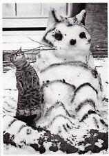Ansichtskarte schwarz-weiß: Katze mit Katzen - Schneemann - snowcats