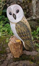 Stunning Wooden Hand Painted Barn Owl Garden Bird Hand Carved