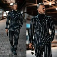 Men Suits Striped Double-Breasted Blazer Black Wedding Wear Prom Party Custom