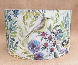 Voyage MORNING CHORUS country bird floral drum lampshade CREAM 15 20 25 30cm