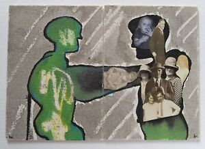 """""""ET and The Human Life Review"""" New Original Collage Art - Two ACEO's 2.5"""" x 3.5"""""""