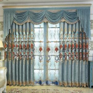Custom luxury European blue velvet embroidery blackout curtain valance M688