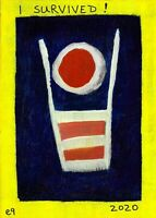 i survived! 2020 e9Art 5x7 Abstract Figurative Outsider Art Painting Brut Folk