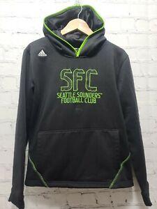 Adidas Kid's Hoodie Sweatshirt SFC Seattle Sounders Large 14-16 Black Green, A67