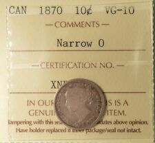 1870 CANADA SILVER TEN Cents - ICCS VG-10 -  Serial # XNP 769