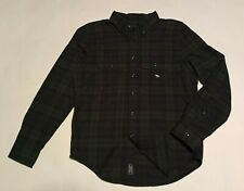 NWT New ABERCROMBIE & FITCH Men's Plaid Flannel Shirt Green XS
