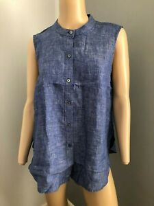 JAG sleeveless blue white linen top shirt 14 NWT RRP 89.95 work holiday beach