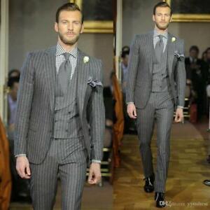 Grau Streifen Hochzeit Bräutigam Smoking Geschäft Herren Hochzeit Blazer Anzüge
