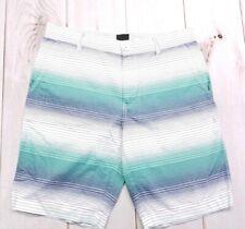 Bar III Shorts, Oz Dip Dye Stripe Shorts, Blue Green White Size 32
