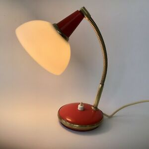 Vintage 1950s/60s Red Goose Neck Desk Lamp Plastic Shade Like Pifco