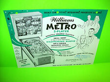 Williams METRO 1961 Original Pinball Machine Flipper Game Promo Sales Flyer RARE
