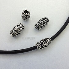 4 PC Antique Sterling Silver Hollow Flower Barrel Bead Spacer ap. 11mm #33092