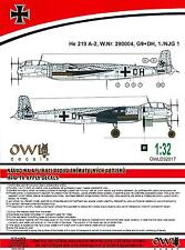 Owl Decals 1/32 HEINKEL He-219A-2 Night Fighter W.Nr. 290004 1./NJG.1