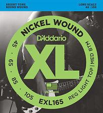 D'ADDARIO EXL165 NICKEL BASS STRINGS, LIGHT/MEDIUM GAUGE 4's -  45-105