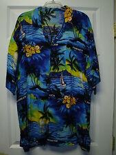 JAMAICA NO PROBLEM Blue Caribbean Sunset Mens Summer Short Sleeve Shirt Gift 1X