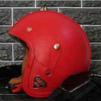 Motorcycle Helmet Open Face Half 3/4 w/Goggles Deluxe Leather Scooter Cruiser