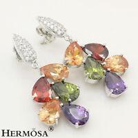 Purple Amethyst,Peridot,Red Garnet,Morganite 925 Sterling Silver Stud Earrings