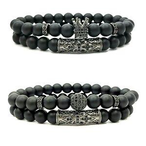 Onyx Natural Gemstone Tiger Eye Beaded Men's Bracelet 8mm beads, 2pcs/set