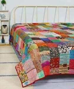 Bohemian Patchwork Quilt Kantha  Handmade Vintage Boho King Size Bedspread