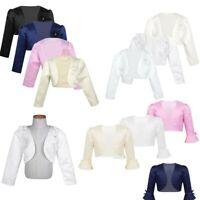 Girls Flower Bolero Long Sleeve Jacket Kids Party Cardigan Shrug Cropped Blazer