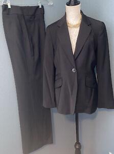 Talbots Women's Black Wool Blend Suit Blazer Jacket & Pants Stretch Sz 10