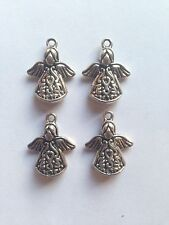 4 x DAINTY DECORATIVE ANGELS  SILVER COLOUR PENDANT CHARM 20mm x 15mm