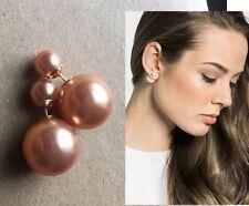 Urban Trend Double Sided Golden Ball 360 Gold Post Earrings Light Mocha Coffee