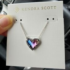 NWT KENDRA SCOTT Ari Heart Pendant Necklace SILVER/Watercolor Illusion