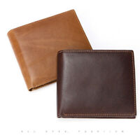 New Mens Real Leather Bifold Wallet RFID Blocking Soft Casual Short Purse Clutch